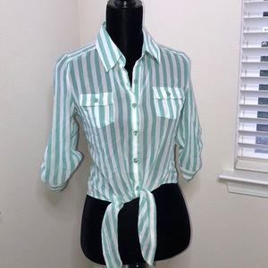 Tops - Blue & White Stripe Tie-Up Top